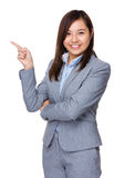 Businesswoman with finger pointing something Royalty Free Stock Photo
