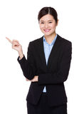 Businesswoman with finger show up Royalty Free Stock Images