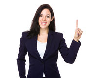 Businesswoman with finger show up Stock Photography