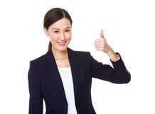 Businesswoman with finger thumb up Royalty Free Stock Image