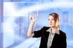 Businesswoman finger touch pad keyboard Stock Images