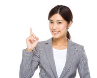 Businesswoman with finger up Royalty Free Stock Photography