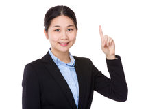 Businesswoman with finger up Royalty Free Stock Images