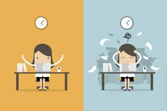 Businesswoman finish working and busy businesswoman unfinished work. Business concept cartoon vector Royalty Free Stock Photos