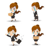 Businesswoman fired. Cartoon illustration set of Business woman fired,dismiss Royalty Free Stock Photos