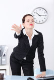 Businesswoman firing her worker. Stock Image