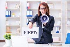 The businesswoman firing people in office Stock Photos