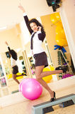Businesswoman fitness. Sucsess woman in fitness gym stock photo