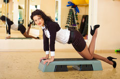 Businesswoman fitness. Sucsess woman in fitness gym stock images