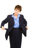 Businesswoman Flat Broke Stock Image