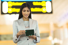 Businesswoman flight ticket Royalty Free Stock Photography