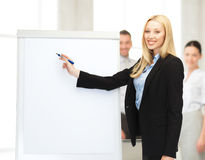 Businesswoman with flipchart in office Stock Photos