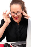 Businesswoman Flirting On A Workplace Royalty Free Stock Photo