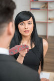Businesswoman flirting and pulling her colleague Royalty Free Stock Photography