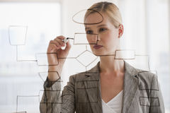 Businesswoman with flow chart Stock Photo