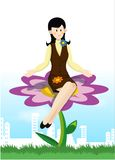 Businesswoman with flower Stock Photography
