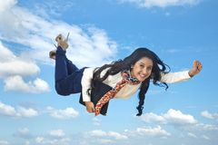 Businesswoman flying in air royalty free stock photo