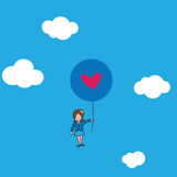 Businesswoman Flying with heart balloons Stock Image