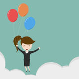 Businesswoman flying. Stock Image
