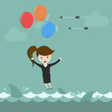 Businesswoman flying over risk. stock illustration