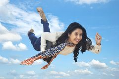 BUsinesswoman flying Royalty Free Stock Photo