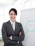 Businesswoman with folded arms at a presentation Stock Photography