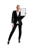 Businesswoman with folder. Siting, white background, isolated in studio Royalty Free Stock Photos