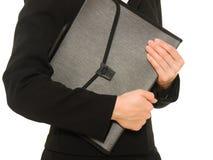 Businesswoman with folder Stock Photos