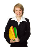 Businesswoman with folder Royalty Free Stock Photos