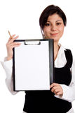 Businesswoman with folder Stock Photos