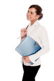 Businesswoman with folder. In hand on a white background Royalty Free Stock Photography