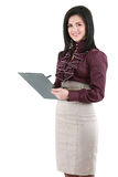 Businesswoman with a folder. Beautiful smiling business woman isolated on white Royalty Free Stock Photos