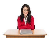 Businesswoman with folder on desk Royalty Free Stock Photo