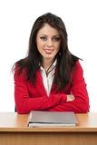 Businesswoman with folder on desk Stock Photos