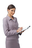 Businesswoman with Folder and Pen Royalty Free Stock Photo