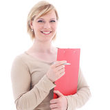 Businesswoman with folder and pen Royalty Free Stock Images