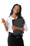 Businesswoman With Folder and Pencil Royalty Free Stock Image