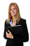 Businesswoman With Folder and Pencil royalty free stock photos