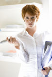 Businesswoman with folder and telephone, portrait Stock Image