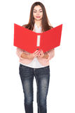 Businesswoman with folder on white isolated background Royalty Free Stock Photo