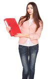 Businesswoman with folder on white isolated background Royalty Free Stock Photos
