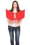 Businesswoman with folder on white isolated background Stock Photos