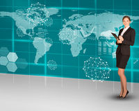 Businesswoman with folder and world map Royalty Free Stock Photography