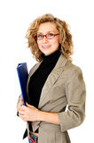 Businesswoman with folder. Young Businesswoman with blue folder, on a white background royalty free stock images