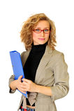Businesswoman with folder. Young Businesswoman with blue folder, on a white background stock images