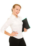 Businesswoman with folders Royalty Free Stock Photography