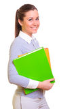 Businesswoman with folders Royalty Free Stock Images