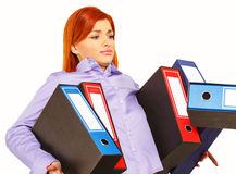 Businesswoman with folders Royalty Free Stock Photos