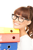 Businesswoman with folders Stock Image