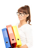 Businesswoman with folders Stock Photography